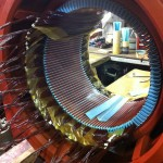 Large low voltage AC stator coil insertion